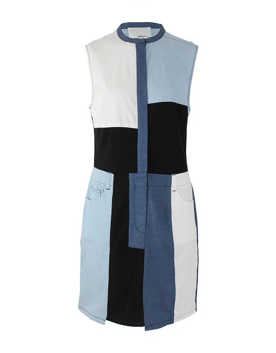 PHILLIP LIM   crew neck denim patchwork dress