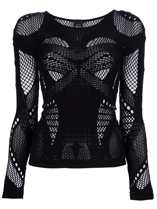MCQ ALEXANDER MCQUEEN   black lace stretch jersey top