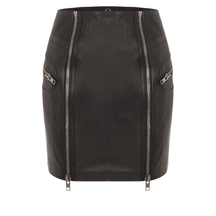 MCQ ALEXANDER MCQUEEN   black leather double zip skirt
