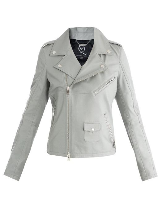 MCQ ALEXANDER MCQUEEN   grey leather biker jacket