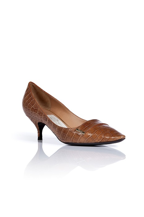 Brown Kitten Heel Pumps | Tsaa Heel