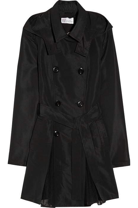RED VALENTINO   black hooded gabardine and tulle trench coat