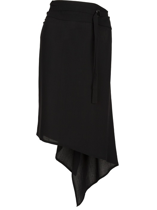 ANN DEMEULEMEESTER   black asymmetrical ruffle skirt
