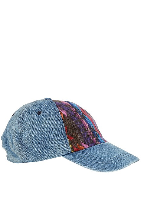 TOPSHOP   denim and aztec baseball cap
