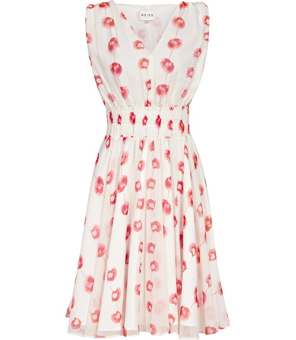 REISS   poppy print fit and flare dress
