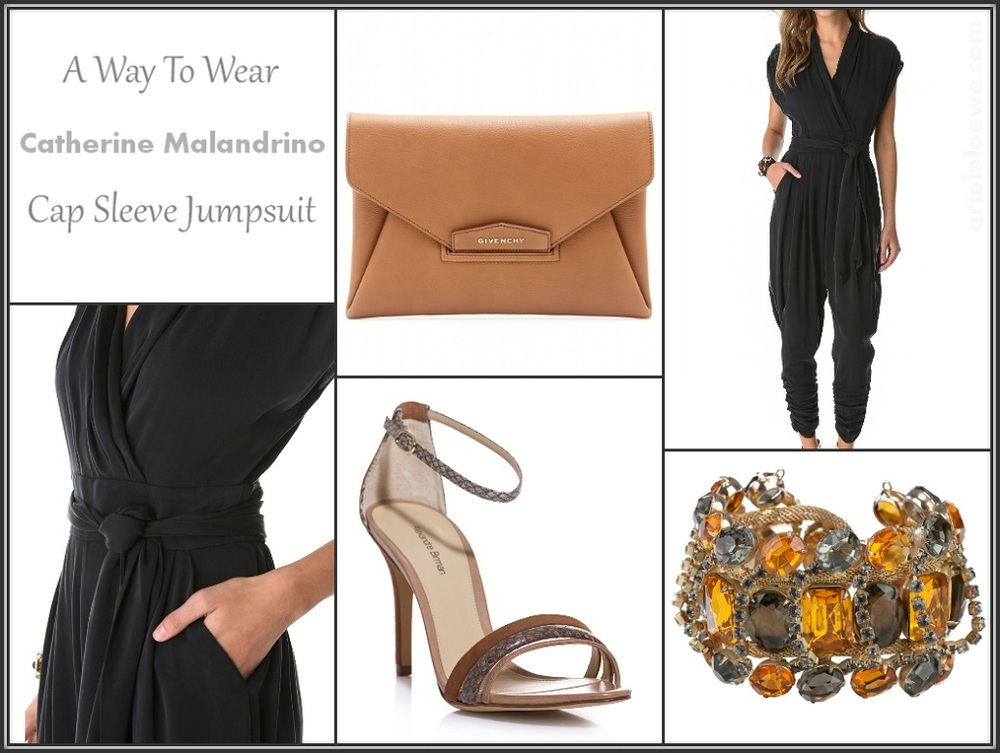 CATHERINE MALANDRINO cap sleeve jumpsuit, GIVENCHY brown Antigona envelope clutch, REWIND VINTAGE AFFAIRS multicolor bracelet, ALEXANDRE BIRMAN brown watersnake and suede sandals