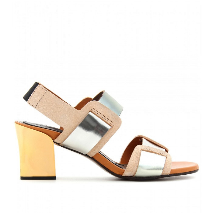 MARNI   metallic block heel sandal