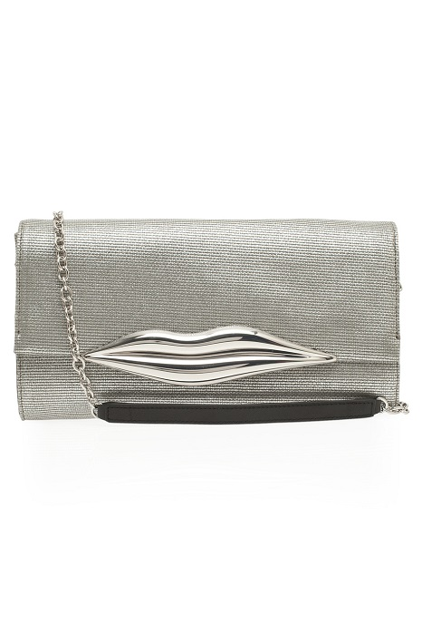 DIANE VON FURSTENBERG   silver Carolina lips canvas clutch