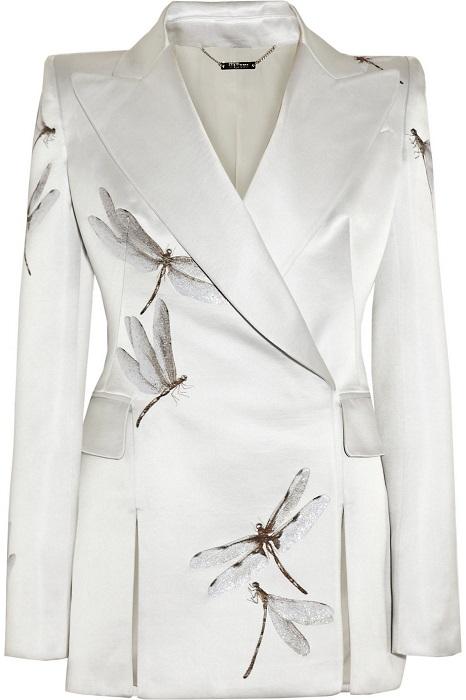 ALEXANDER MCQUEEN   silver satin dragonfly jacket