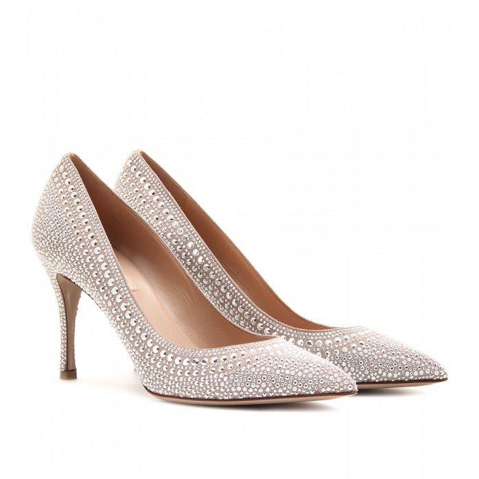VALENTINO   silver glam stud embellished suede pumps