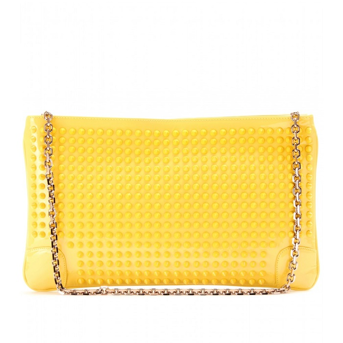 CHRISTIAN LOUBOUTIN   yellow spiked patent leather clutch