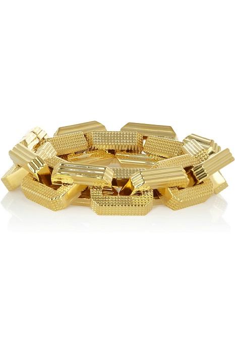EDDIE BORGO   large supra textured gold plated chain bracelet