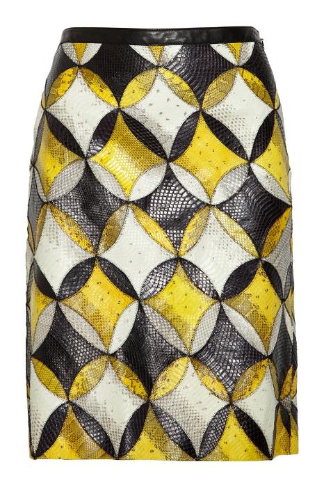 DEREK LAM   yellow patterned seasnake skirt