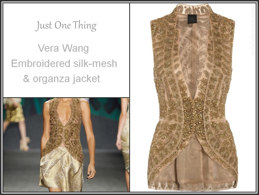Vera Wang Embroidered Silk-Mesh and Organza Jacket