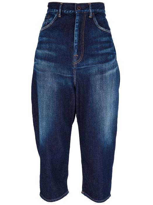 Y'S YOHJI YAMAMOTO   blue high waisted cropped jeans