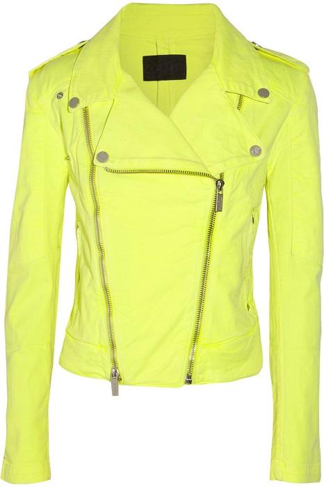 KARL LAGERFELD   jovanna neon stretch denim biker jacket