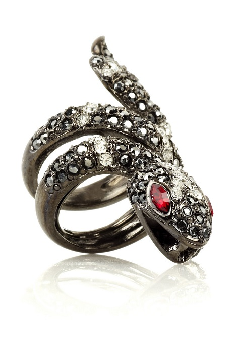 KENNETH JAY LANE   gunmetal plated swarovski crystal snake ring