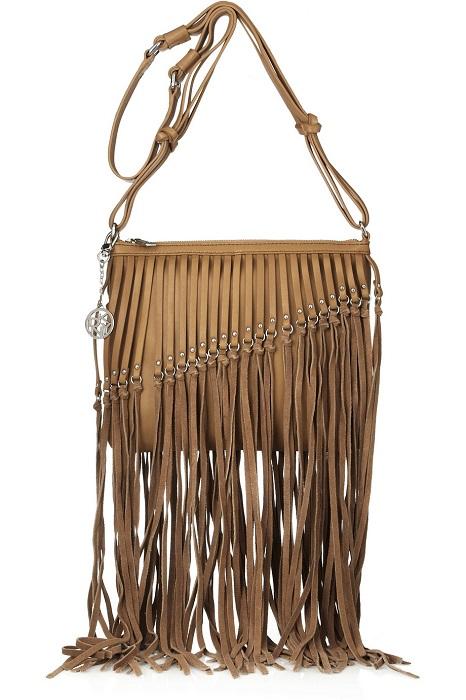 DKNY   brown tassled leather & suede shoulder bag