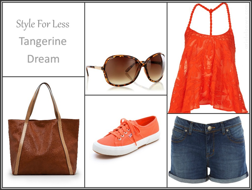 Style for less tangerine dream, Oasis orange rope strap embroidered cami