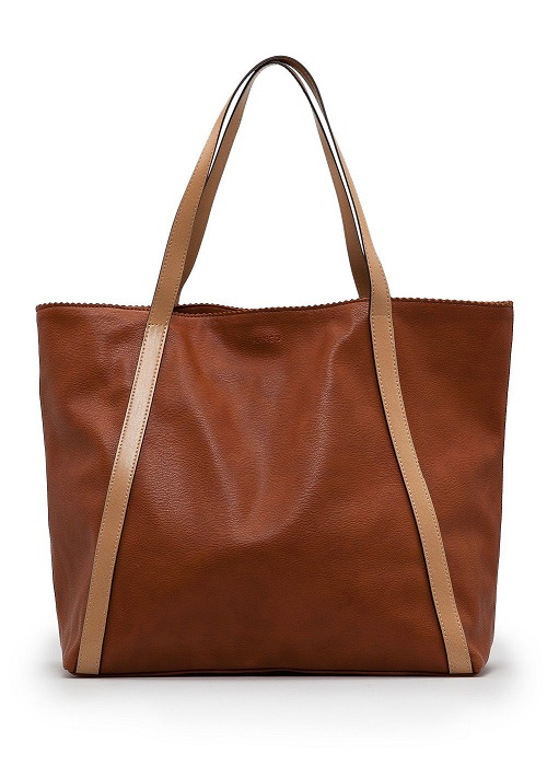 MANGO   brown faux leather tote bag
