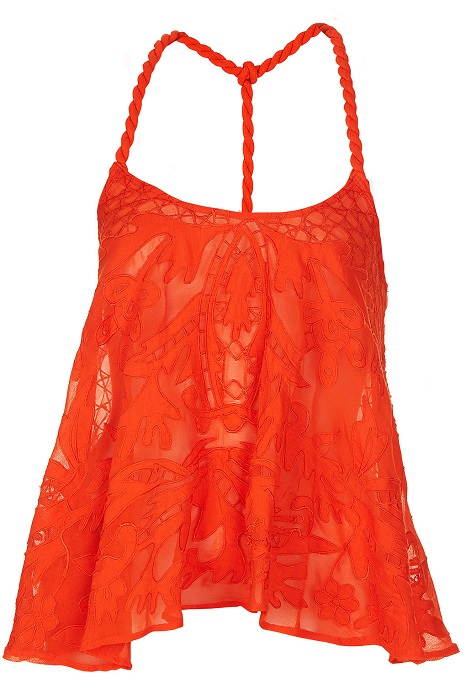 TOPSHOP   orange rope strap embroidered cami