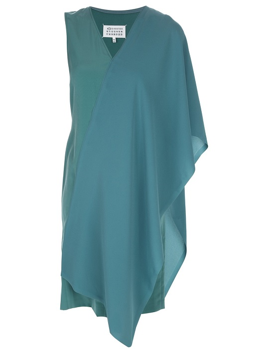MAISON MARTIN MARGIELA   teal asymmetrical draped dress