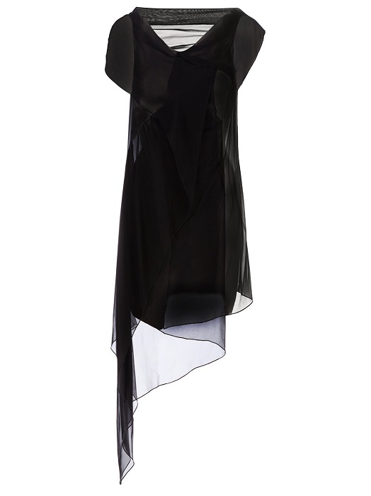 PEACHOO + KREJBERG   black asymmetric sheer dress
