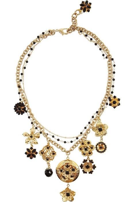 DOLCE & GABBANA   swarovski crystal locket necklace