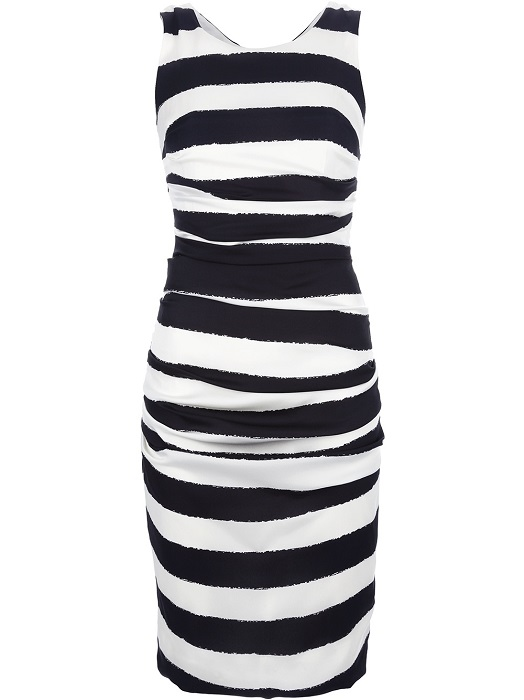 DOLCE & GABBANA   white striped silk fitted dress
