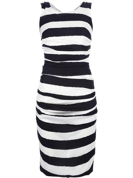 DOLCE & GABBANA   white striped silk fitted dress