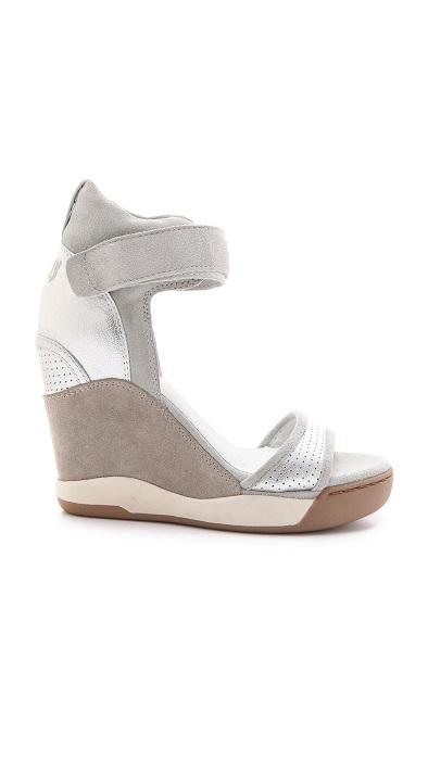ASH   silver Eloise wedge trainer sandal