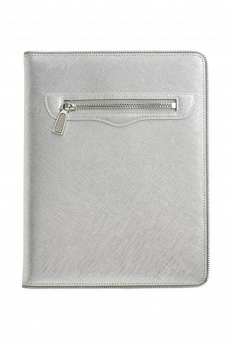 REBECCA MINKOFF   silver Maddie tablet case