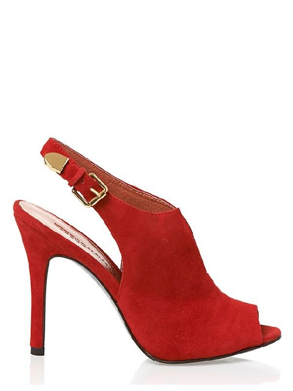 REBECCA MINKOFF   Priscilla red suede peep toe slingback