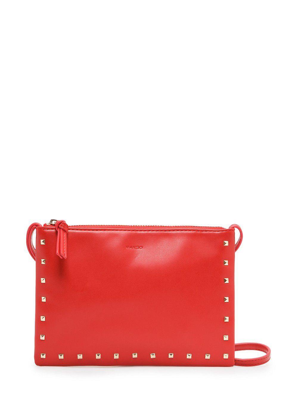 MANGO   red studded shoulder bag