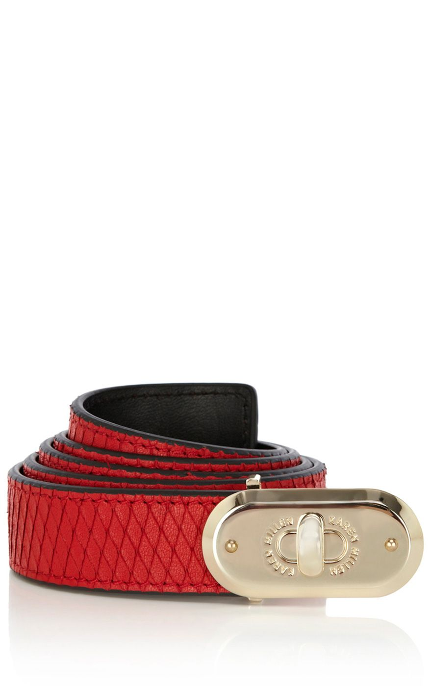 KAREN MILLEN   red textured snake skinny belt