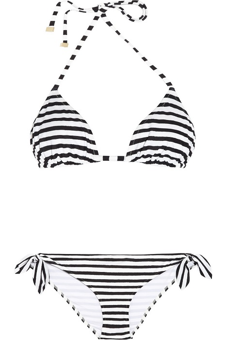 DOLCE & GABBANA   white striped triangle bikini