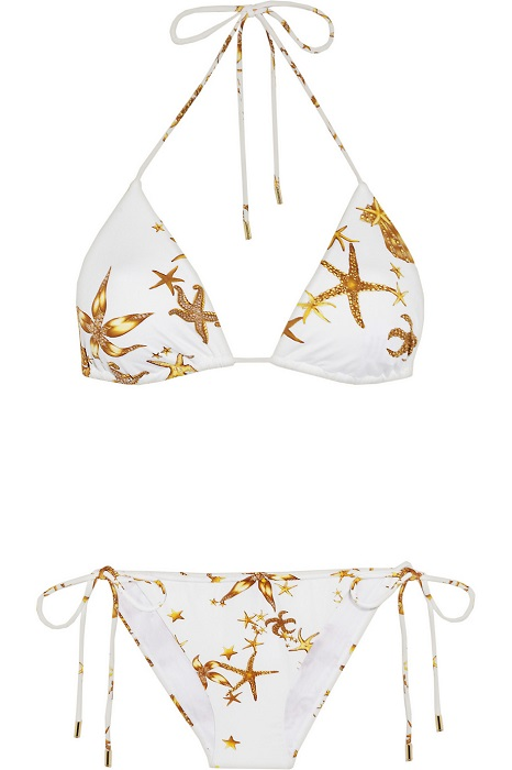 VERSACE   white starfish print triangle bikini