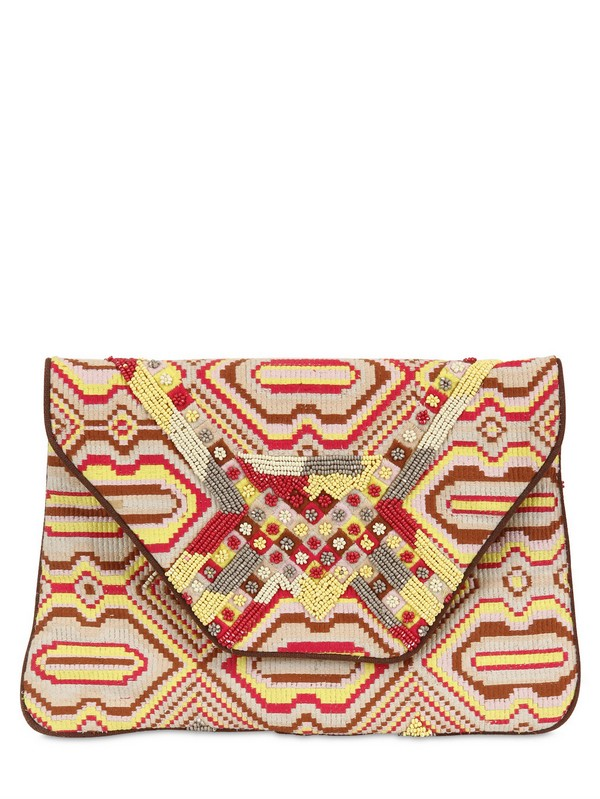 ANTIK BATIK   multi beaded embroidered canvas clutch