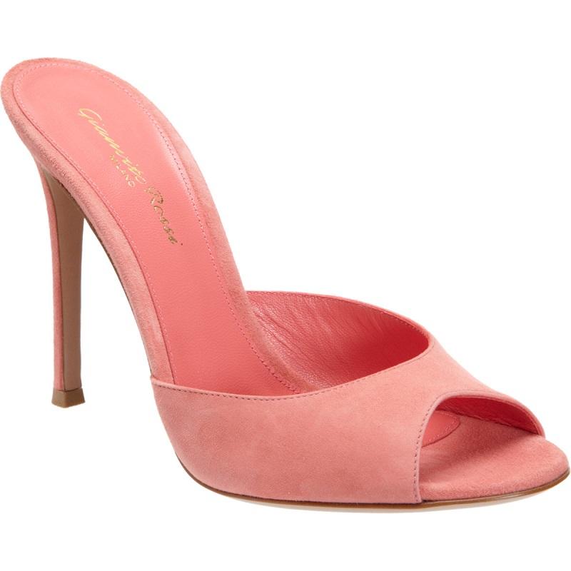 GIANVITO ROSSI   pink open toe mule