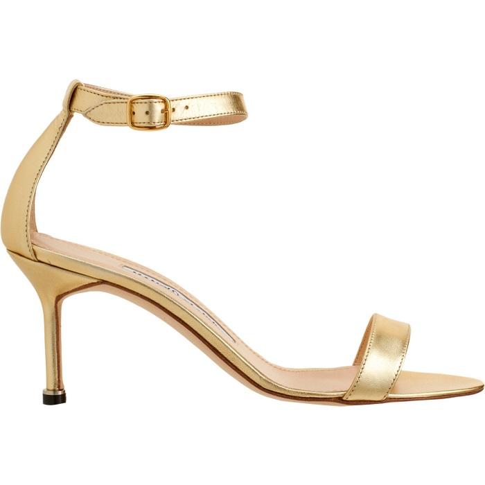 MANOLO BLAHNIK   gold chaos open toe sandal