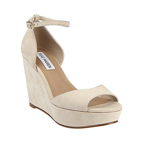 STEVE MADDEN   suede open toe wedge