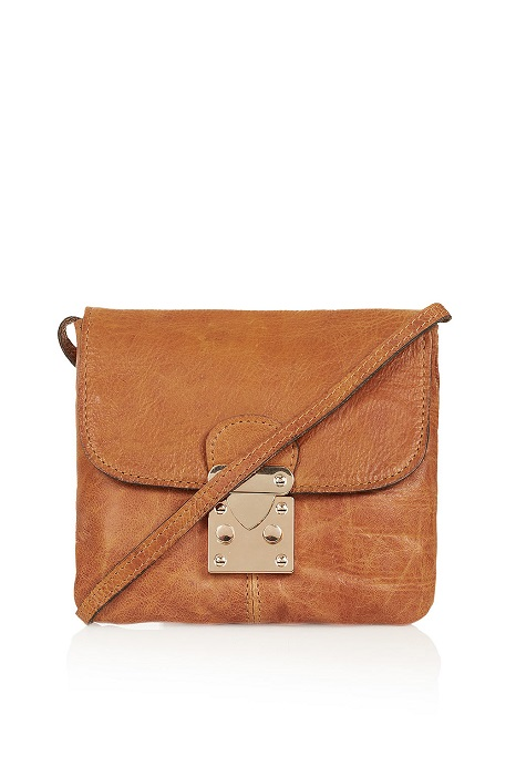 TOPSHOP   tan leather crossbody bag