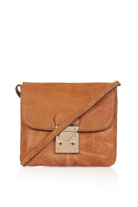 TOPSHOP   tan leather crossbody bag
