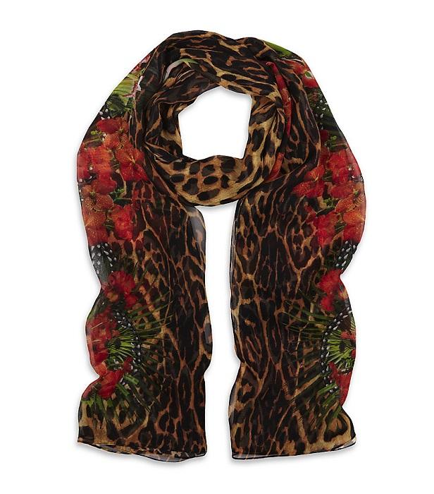 GIVENCHY   iris & leopard print scarf