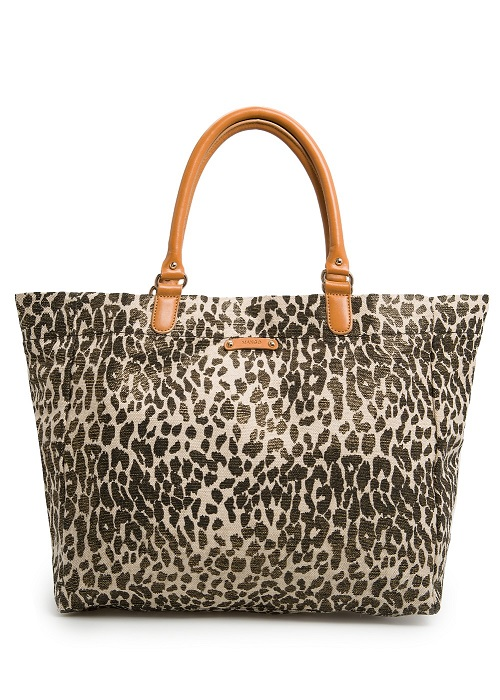 MANGO   leopard metallic canvas bag