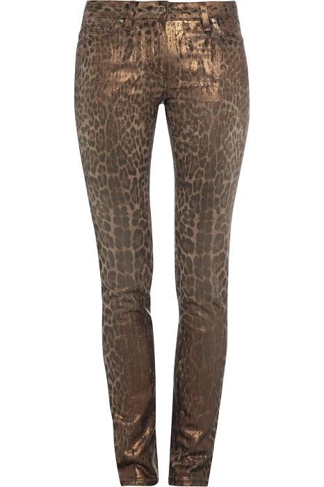 ROBERTO CAVALLI   leopard print stretch denim jeans