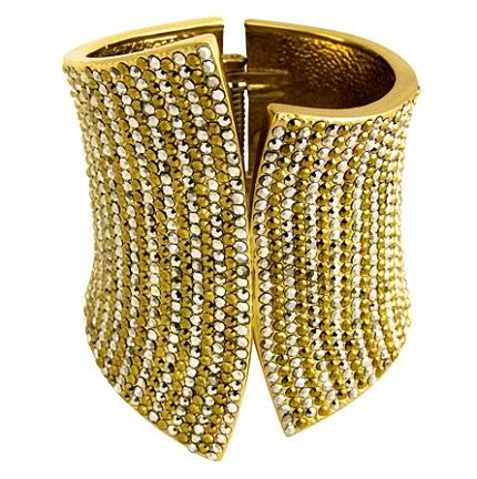 Multi row crystal asymmetric snap cuff (gold)