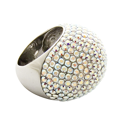 Pave crystal dome ring