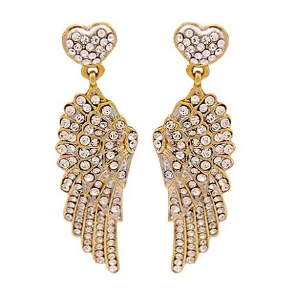 Wing & heart drop earrings