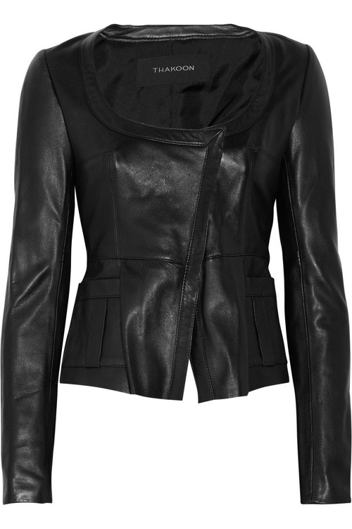 THAKOON   black leather peplum jacket